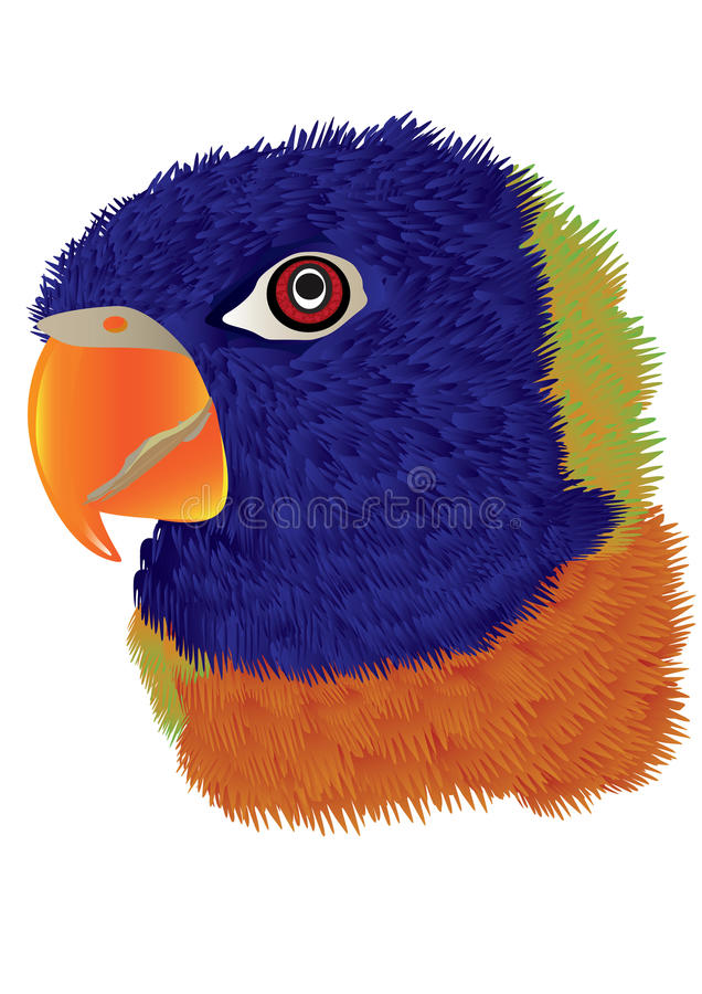 Parrot Head_eps. Illustration of parrot head with white background. --- This .eps file info Document: A4 Paper Size Document Color Mode: CMYK Color Preview: TIFF stock illustration