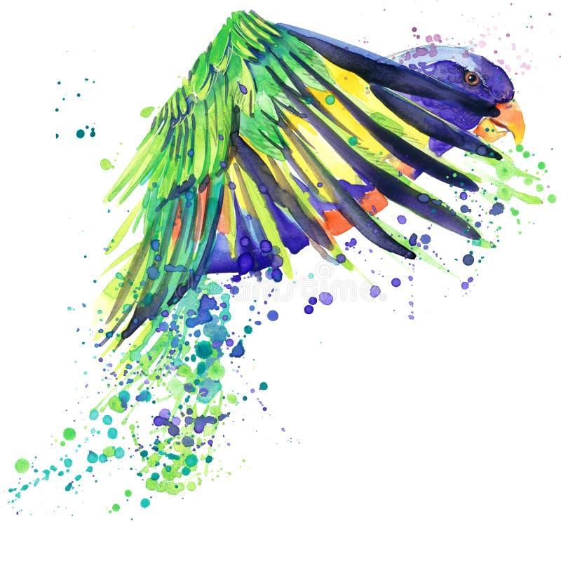 Parrot les graphiques de T-shirt, illustration africaine de perroquet d'oiseau avec le fond texturisé par aquarelle d'éclaboussur illustration libre de droits
