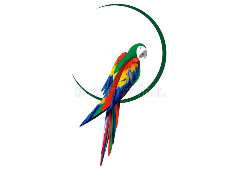 Parrot logo idea design, beautiful scarlet macaw bird in natural color, vector illustration isolated stock illustration