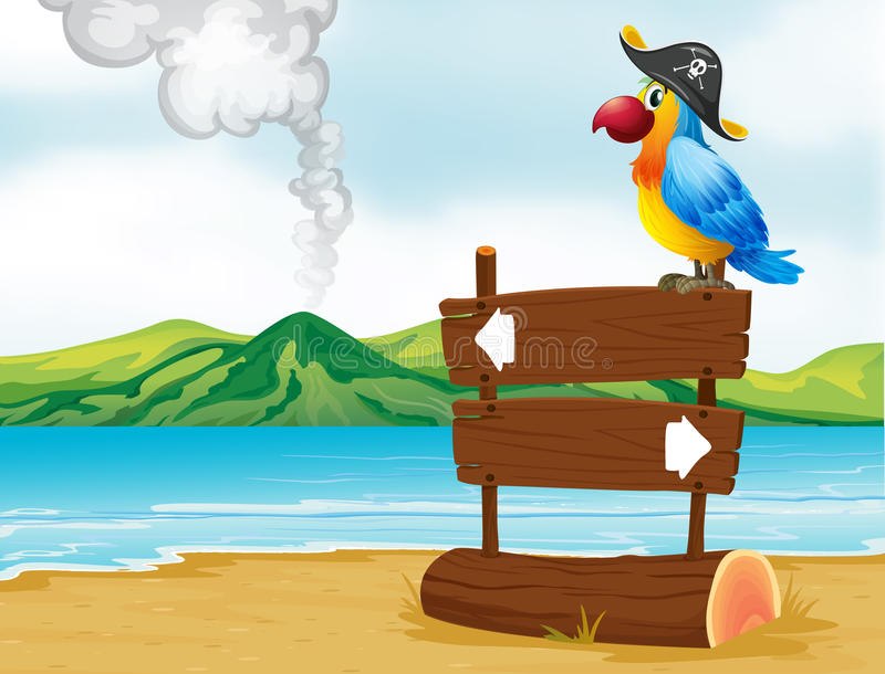 A parrot with a pirate hat above the wooden signboard vector illustration