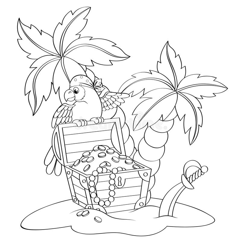 Parrot on pirate`s treasure chest. Deserted beach with palm trees stock illustration