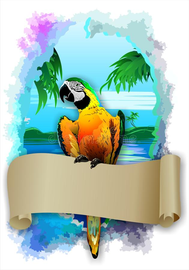 Parrot with a scroll in the background of islands. (Vector). Vector image of the Parrot with a scroll in the background of sea and Islands vector illustration