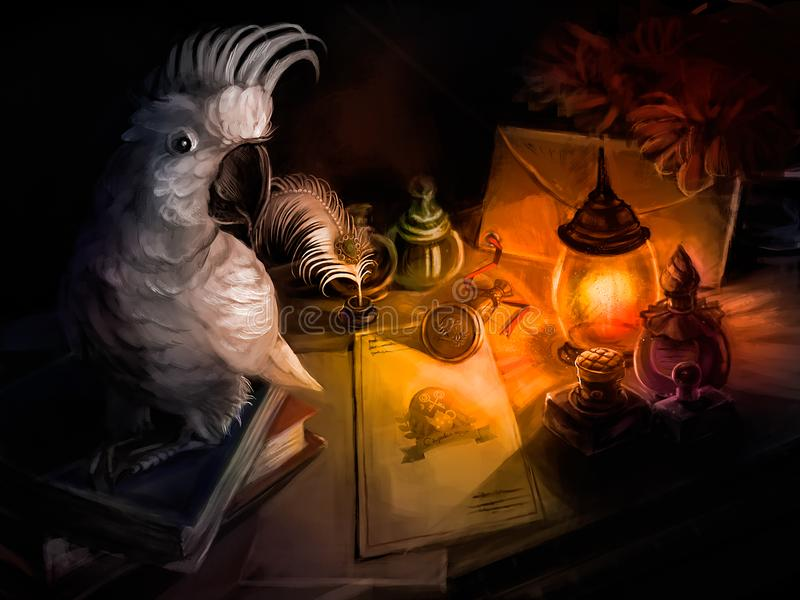 A parrot sits on the Desk of a writer vector illustration