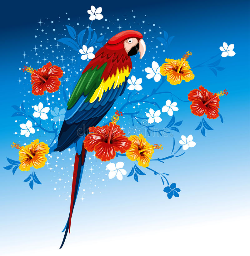 Download Parrot And Tropical Flowers Stock Vector - Illustration: 23431977