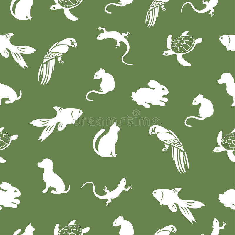 The parrot, turtle, cat, dog, rabbit, mouse, fish, lizard seamless pattern, animal vector background. For fabric design vector illustration