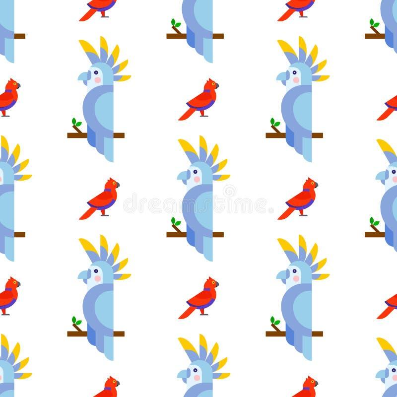 Parrots длиннохвостые попугаи животной природы картины птиц безшовные тропические иллюстрация вектора