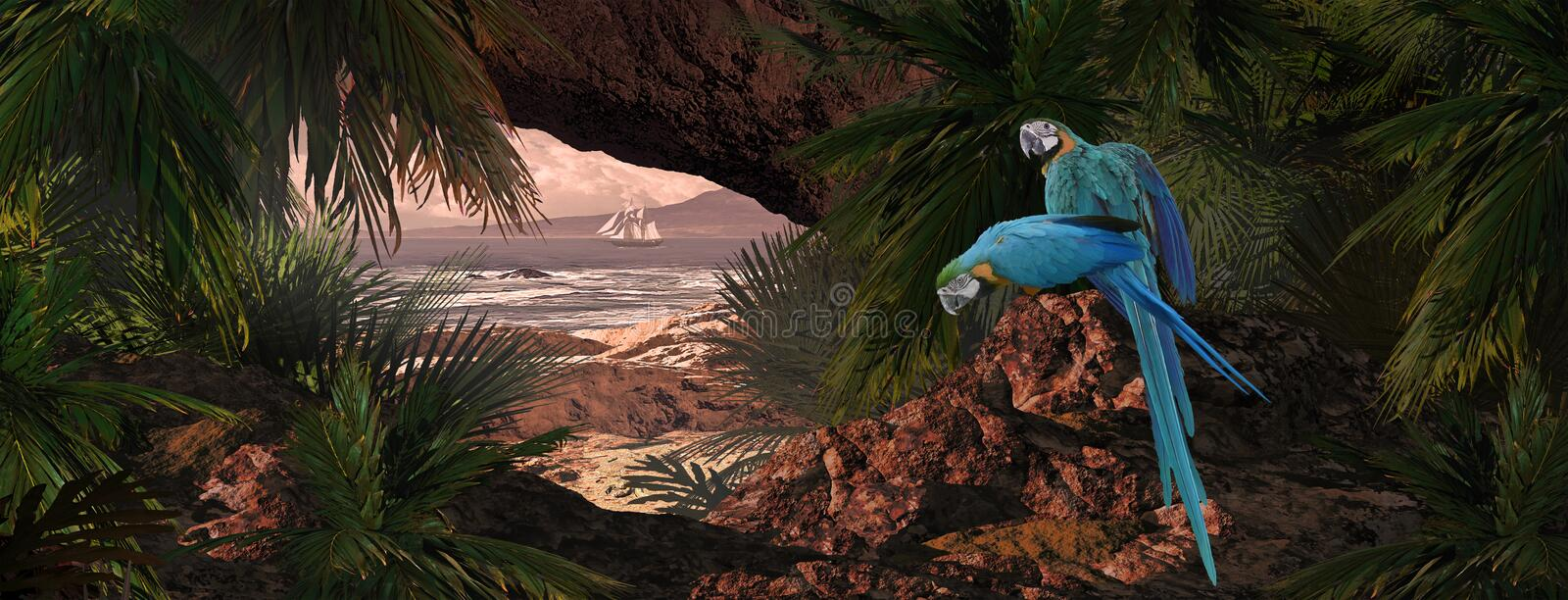 Download Parrots Of The Caribbean stock illustration. Image of trees - 20042176