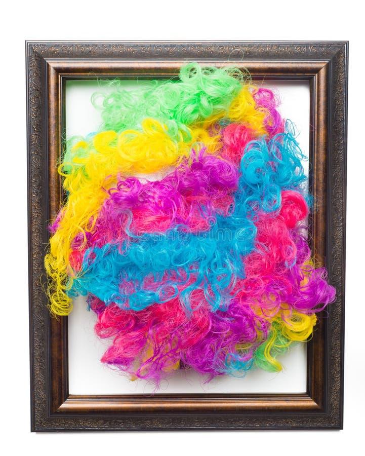 Parrucca di afro del Rainbow della discoteca fotografia stock libera da diritti