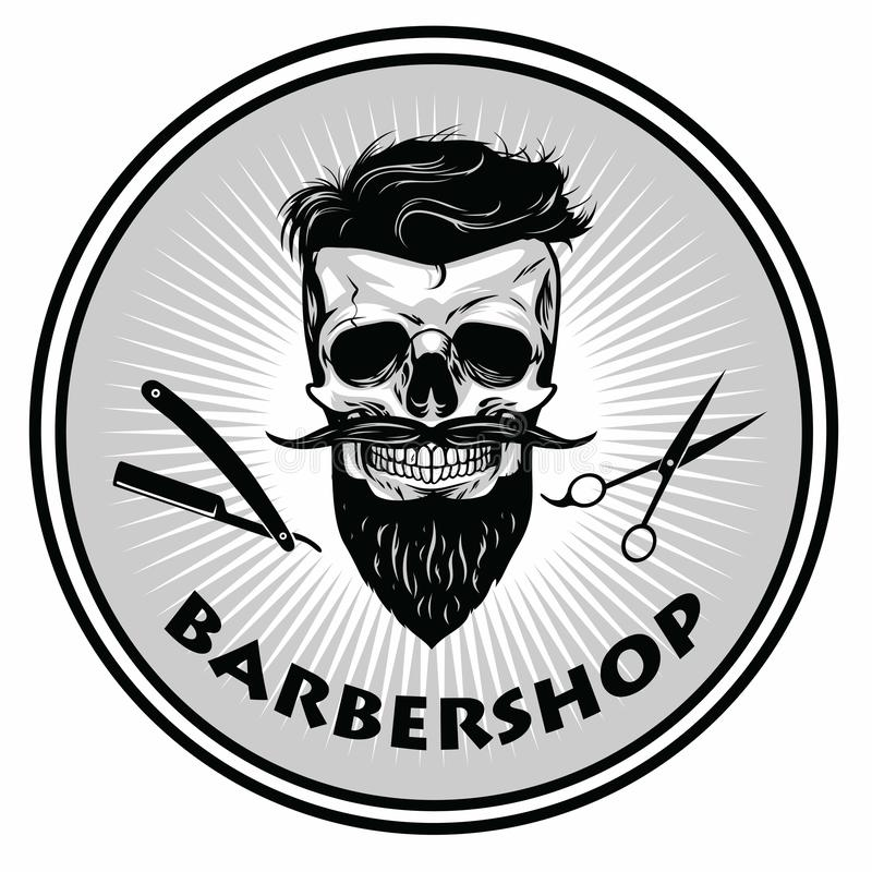 Parrucchiere Barber Logo Template Retro Design Vector illustrazione di stock