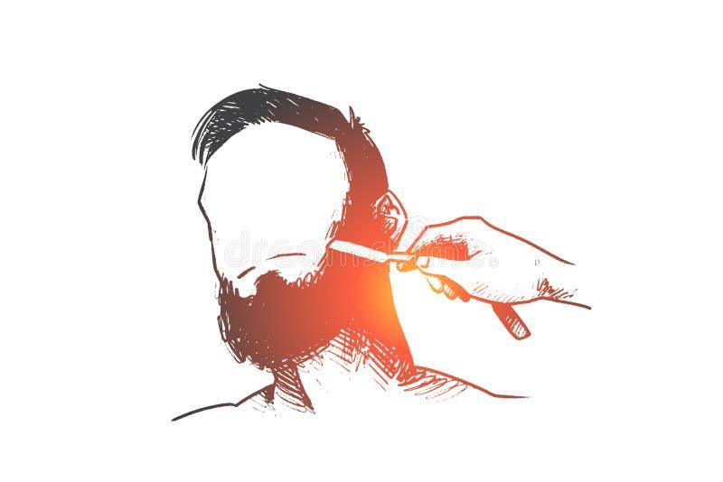 Parrucchiere, barbiere, barba, pantaloni a vita bassa, concetto di rasatura Vettore isolato disegnato a mano illustrazione vettoriale
