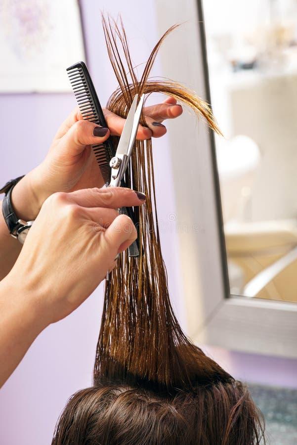 Parrucchiere che disegna capelli marroni lunghi fotografia stock