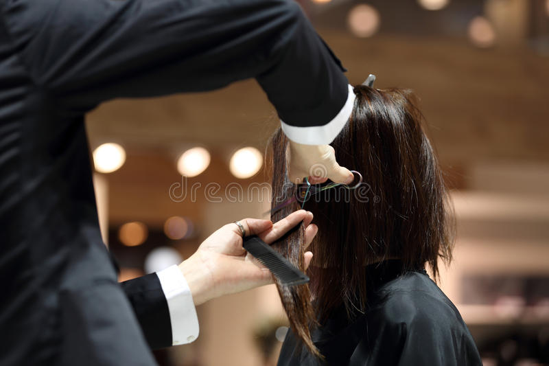 Parrucchiere che sistema capelli marroni con le forbici immagini stock