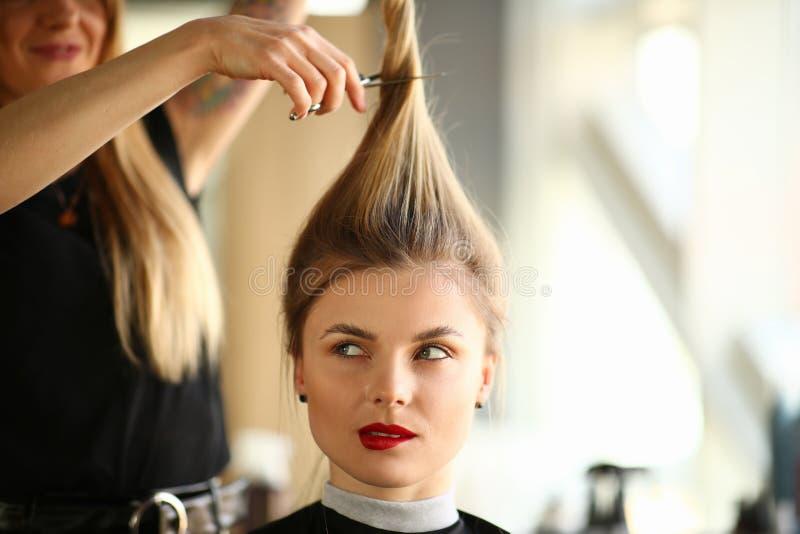 Parrucchiere Cutting Hair al ritratto biondo della donna fotografia stock