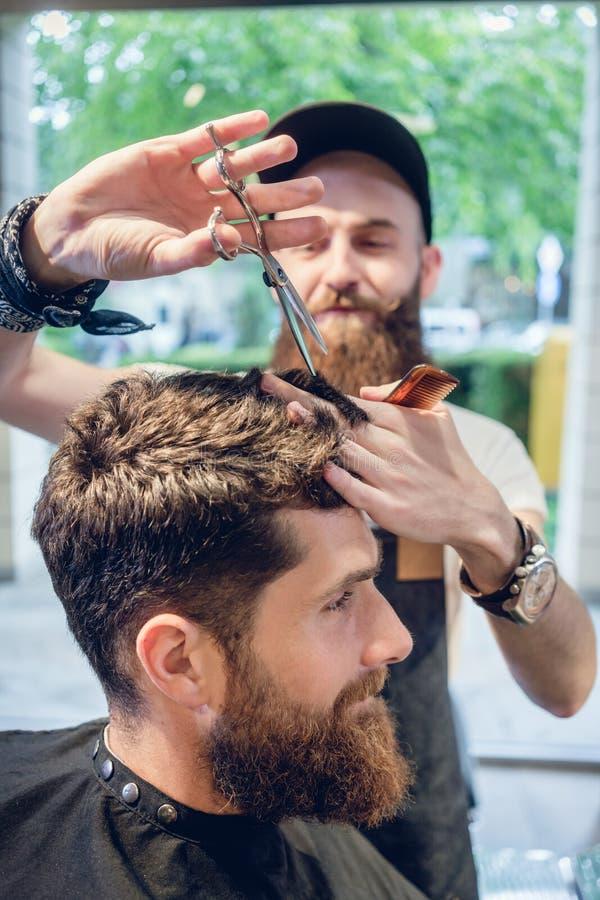 Parrucchiere dedicato che per mezzo delle forbici e del pettine mentre dando un coo immagini stock
