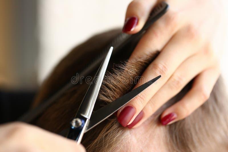 Parrucchiere femminile di forbici dei capelli della tenuta della mano immagine stock libera da diritti