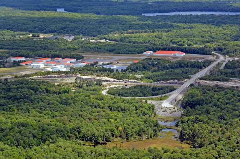 Parry Sound Area Municipal Airport. Aerial view of the Parry Sound Area Municipal Airport, Ontario Canada royalty free stock photo