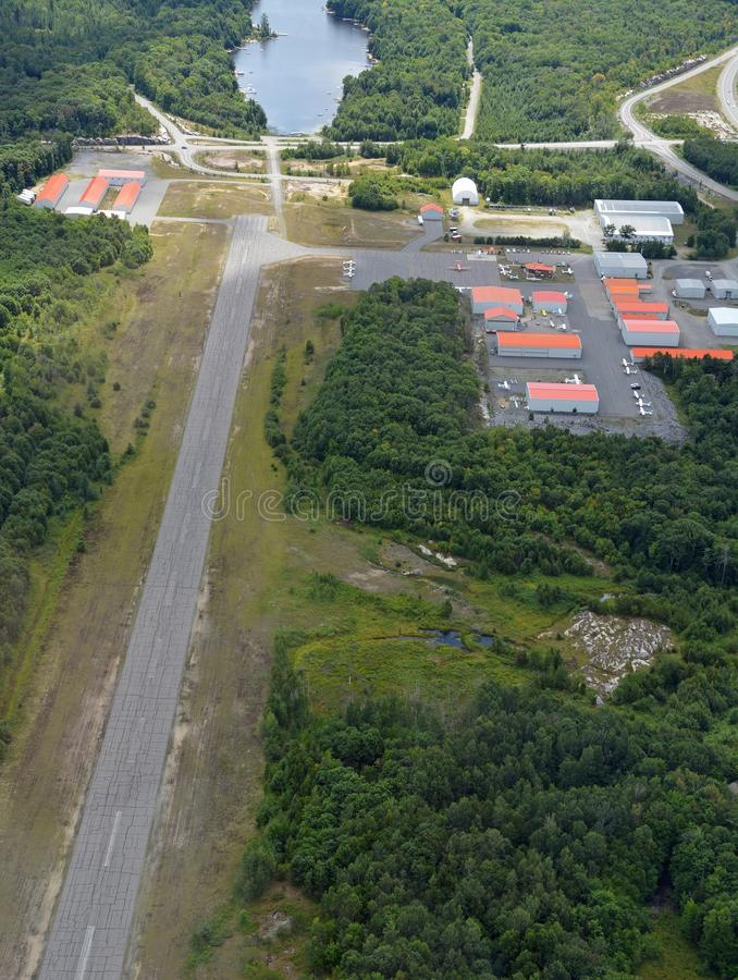 Parry Sound Area Municipal Airport. Aerial view of Parry Sound Area Municipal Airport, Ontario Canada royalty free stock photography