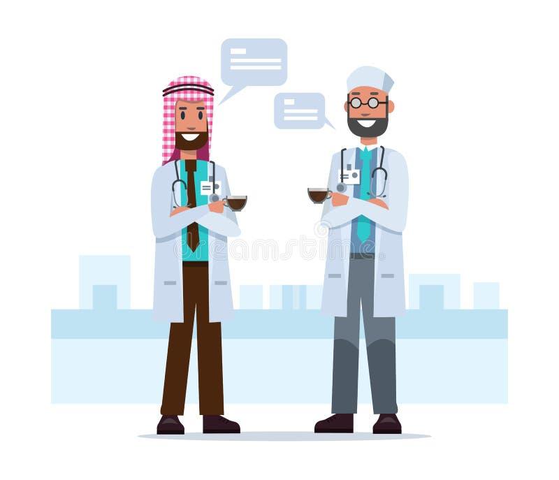 Parsaudier - araben manipulerar samtal i tid för kaffeavbrott stock illustrationer