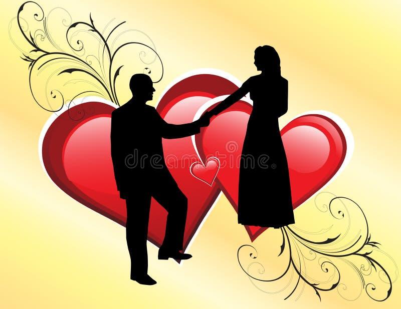 parsilhouettebröllop royaltyfri illustrationer