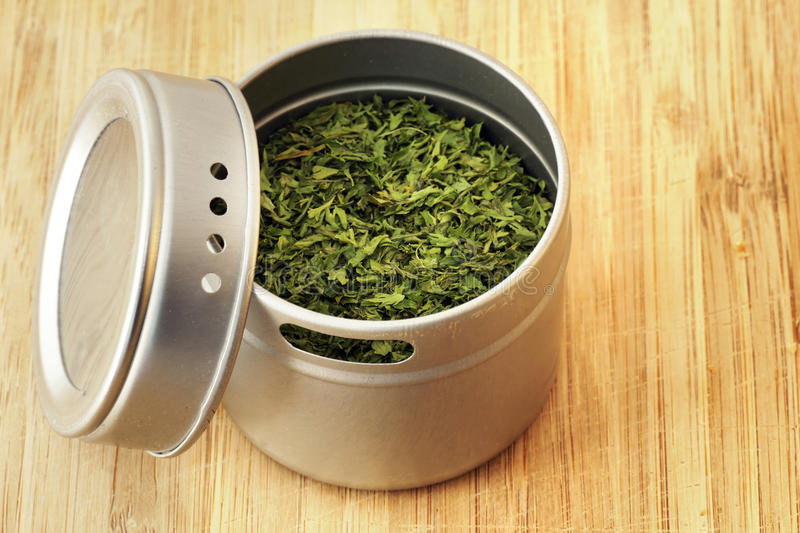 Download Parsley Flakes In Aluminum Shaker Stock Photo - Image: 19546658