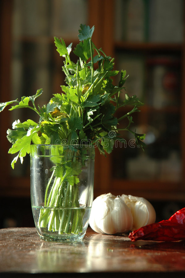 Parsley in the kitchen stock photography