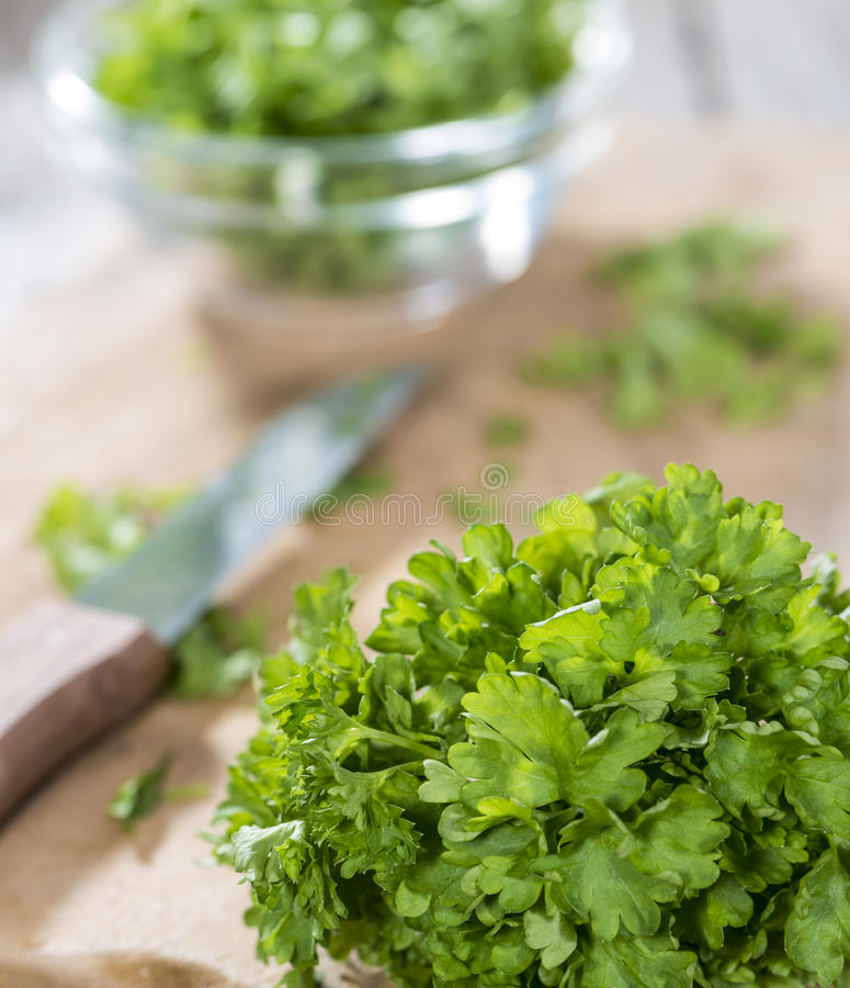 Parsley on a slat royalty free stock photography
