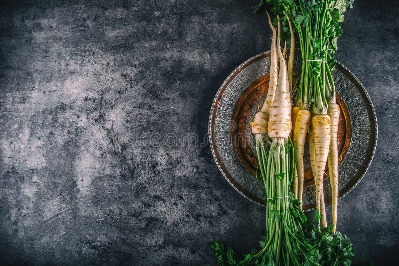 parsnip Pastinaga fresca Pastinaga com salsa na placa concreta Diversas partes frescas da pastinaga com parte superior da salsa E imagens de stock