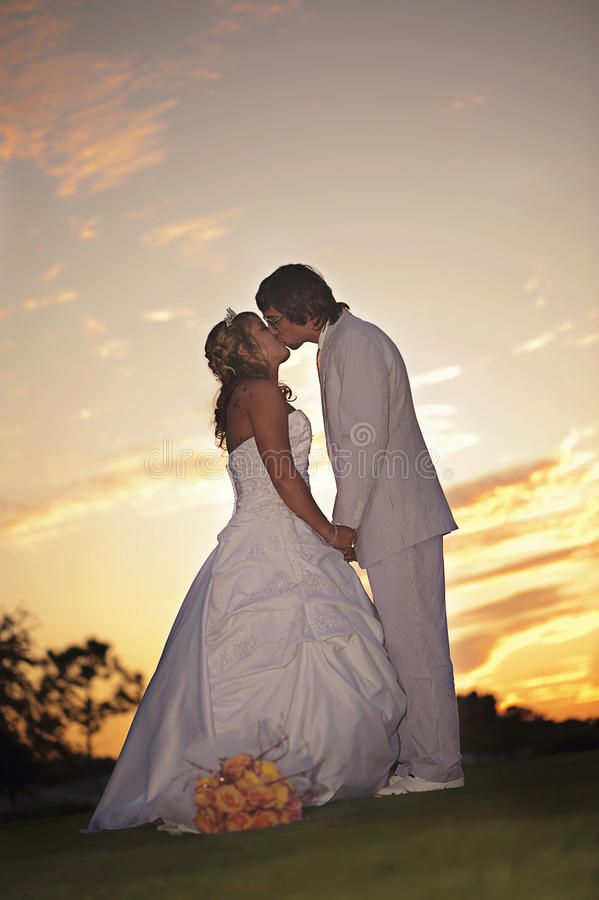 parsolnedgångbröllop royaltyfria foton