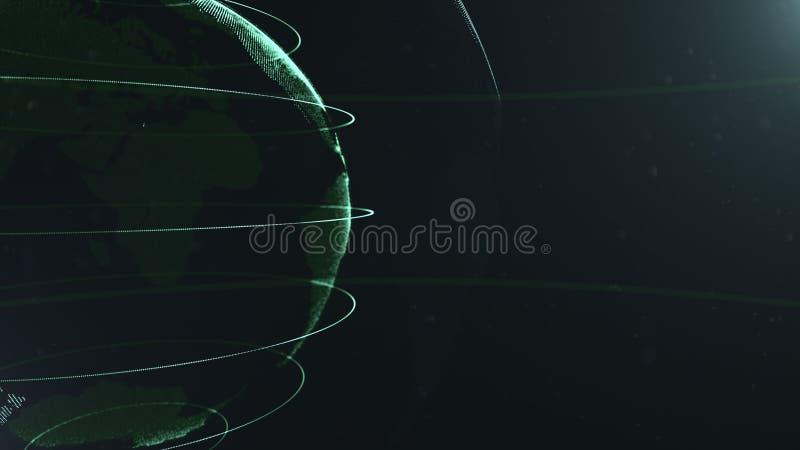 Partícula abstracta Foto de la cosecha Planeta verde dentro veilted el blanco, creado de puntos Dackdrop negro total poco ilustración del vector