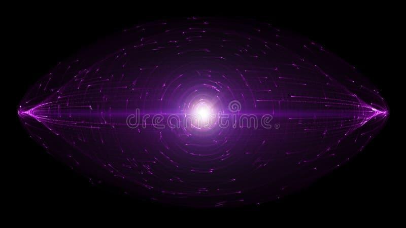 Partículas abstractas de HUD Design With Glowing Light que están en órbita alrededor de objeto en forma de disco ilustración del vector