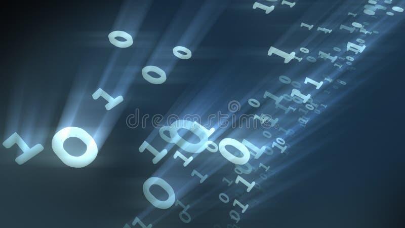 Partículas binárias dos números do computador dos bocados e dos bytes rendição 3d ilustração royalty free