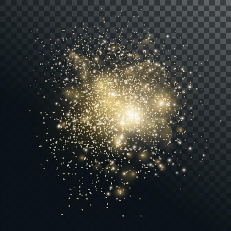 Partículas brillantes del oro, efecto luminoso ilustración del vector