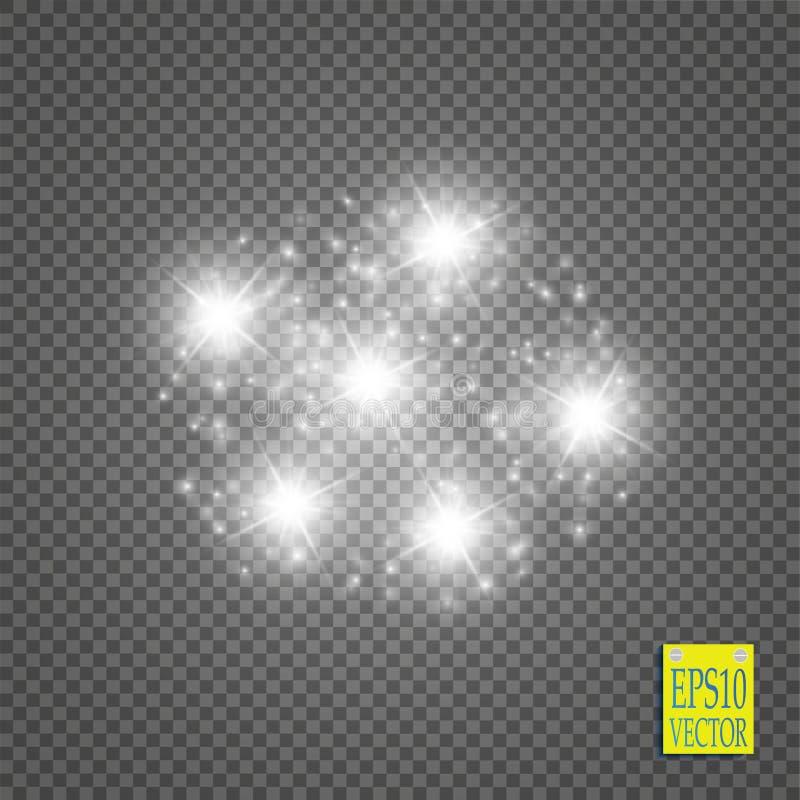 Partículas chispeantes blancas del rastro del polvo de estrella que brillan en fondo transparente Cola del cometa del espacio libre illustration