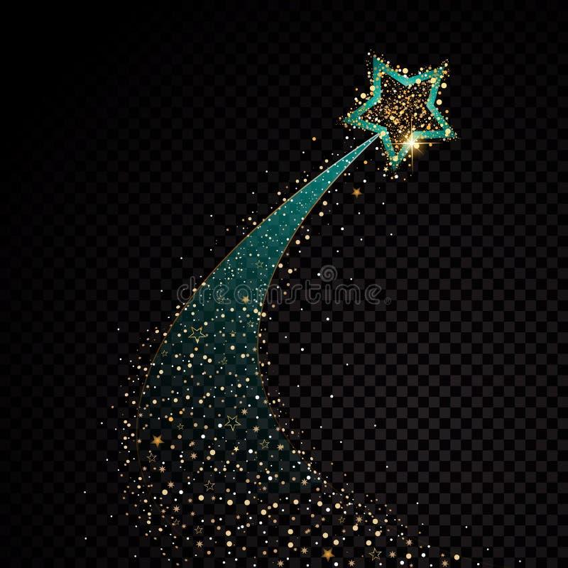 Partículas chispeantes de estrella del oro que brillan del rastro espiral del polvo en fondo transparente Cola del cometa del esp stock de ilustración
