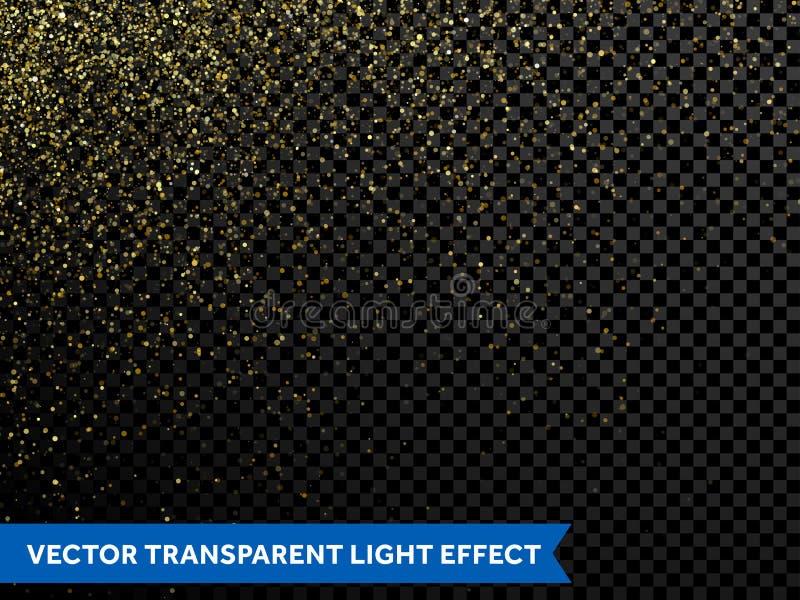 Partículas chispeantes del brillo del extracto del oro de estrella del rastro de oro del polvo libre illustration