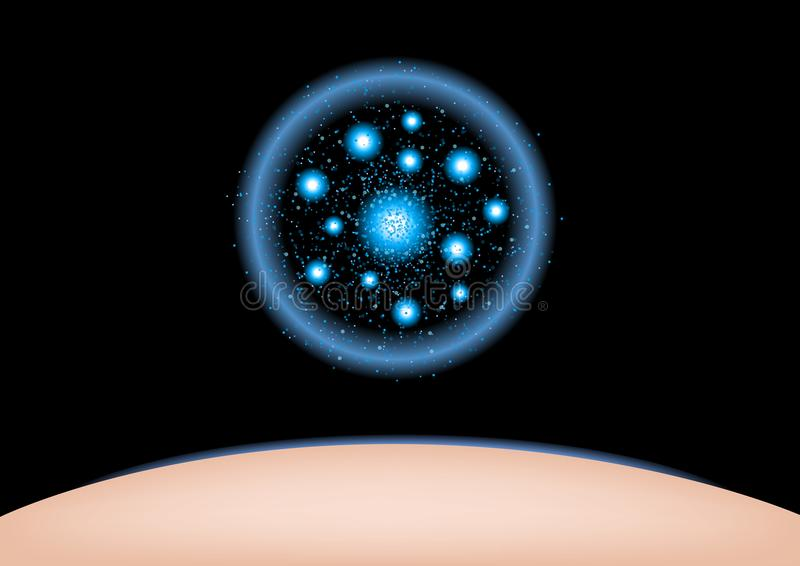 Partículas chispeantes del colágeno de las estrellas del círculo que brillan azul el colágeno shinning del brillo se aplica en pi ilustración del vector