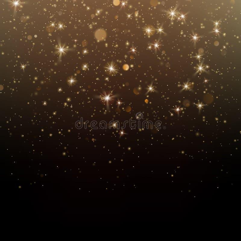 Partículas chispeantes del polvo de estrella del oro que brillan en fondo oscuro EPS 10 libre illustration