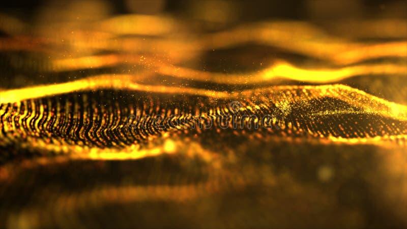 Partículas da onda do sumário do ouro fotografia de stock