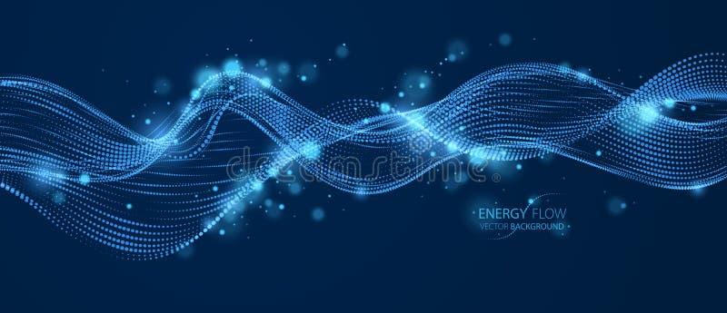 Partículas de fluxo da energia, onda de pontos misturados sobre a obscuridade 3d linhas pontilhadas curvadas ilustração do vetor  ilustração do vetor