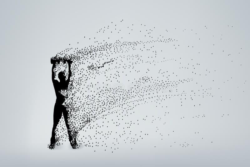 Partículas 01 de la silueta ilustración del vector