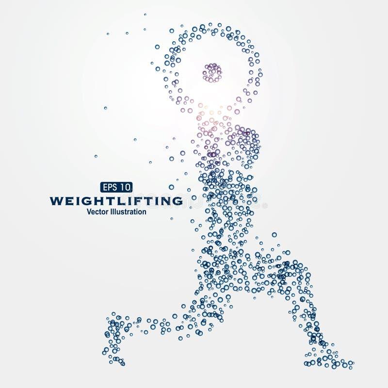 Partículas de los gráficos de los deportes, ejemplo, atletas, weightlifters, fuerza libre illustration