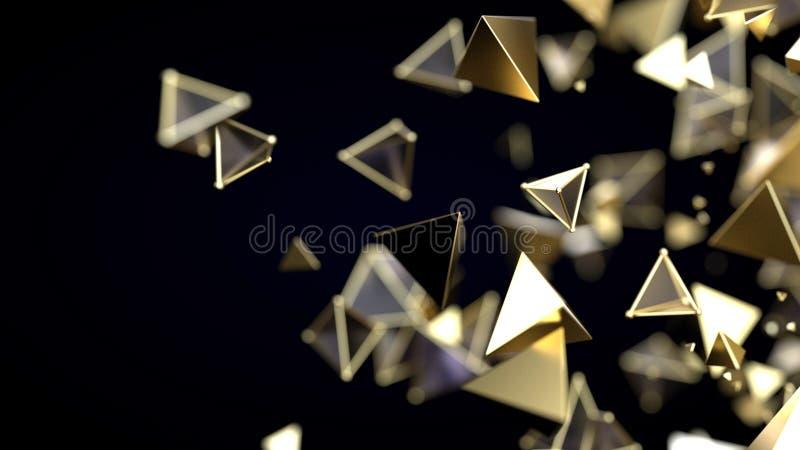 Partículas de oro piramidales abstractas ilustración del vector