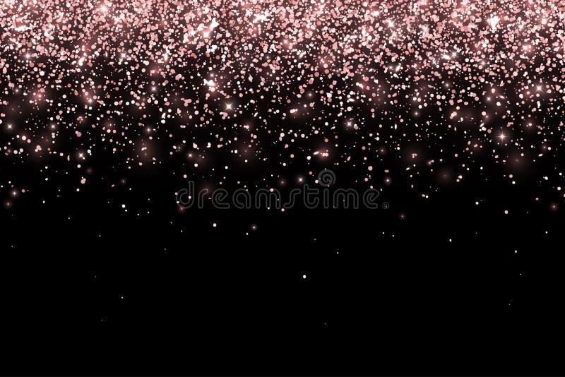 Partículas de queda do ouro de Rosa no fundo preto Vetor ilustração do vetor