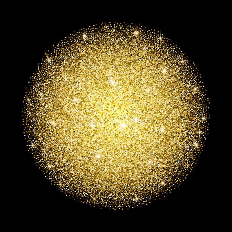 Partículas de queda no formulário do círculo no fundo escuro Luzes Shin ilustração do vetor