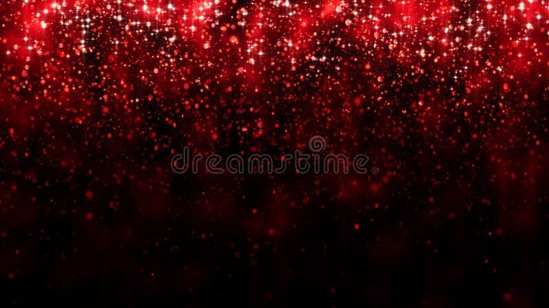 Partículas del brillo del fondo que caen rojo Fondo chispeante festivo hermoso Luz de la magia del bokeh de la partícula Rose roj imagen de archivo libre de regalías