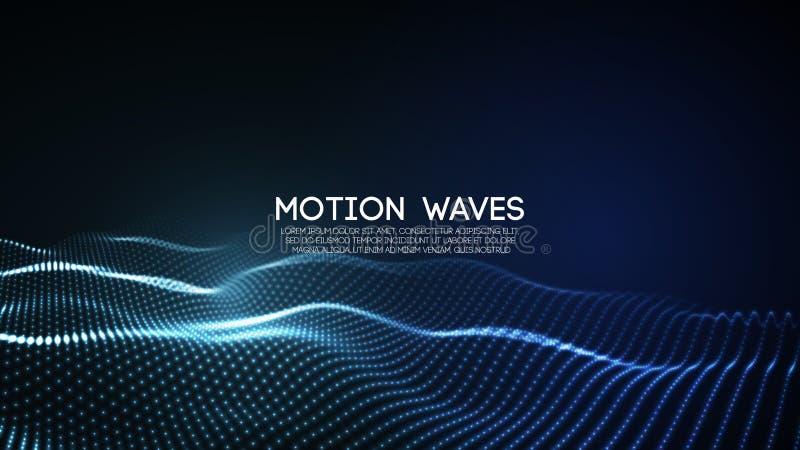 partículas digitais abstratas de incandescência da onda 3D Ilustração futurista do vetor Elemento de HUD Conceito da tecnologia S ilustração royalty free