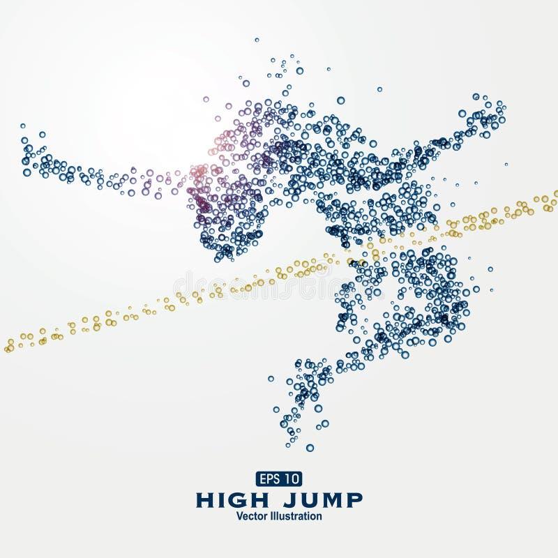 Partículas dos gráficos dos esportes, ilustração, gotas de água, salto, e de grande resistência saltando, altos ilustração royalty free