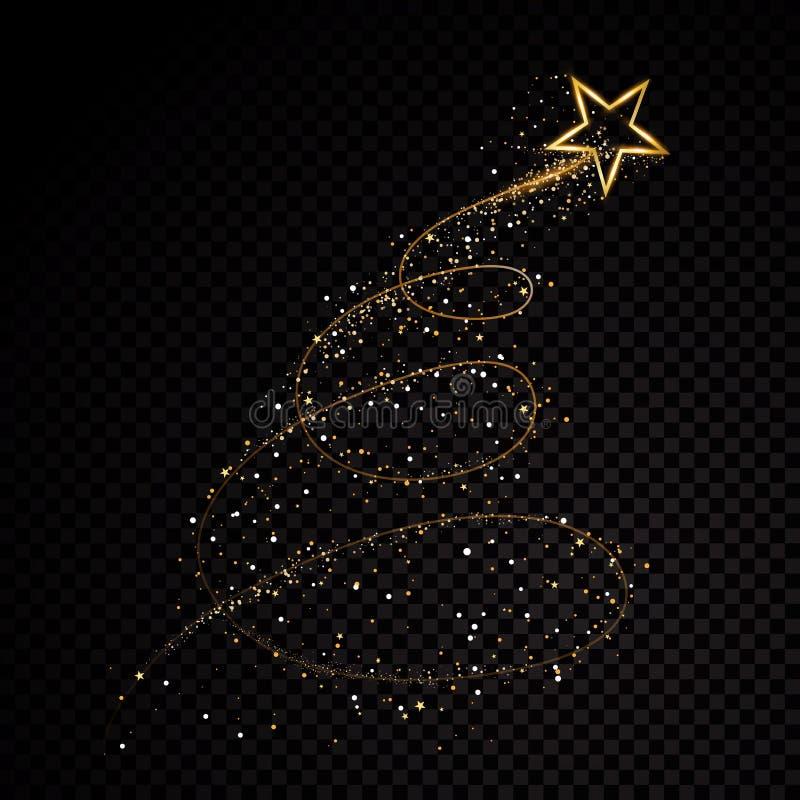 Partículas efervescentes de brilho da fuga da poeira de estrela do ouro no fundo transparente Cauda do cometa do espaço Forma do  ilustração royalty free