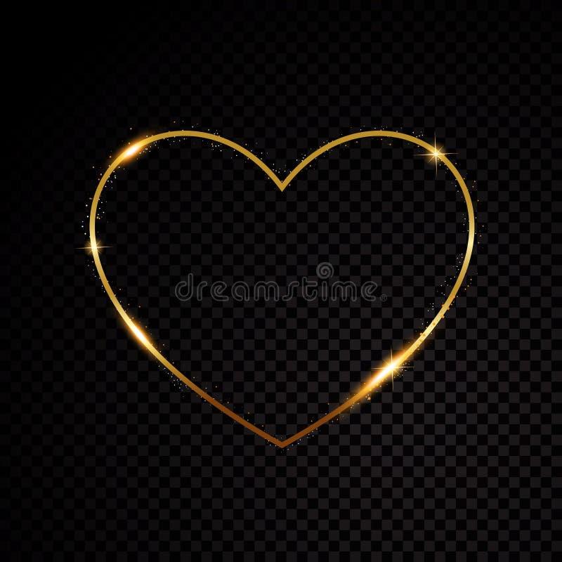 Partículas efervescentes de brilho do coração do dia de Valentim de poeira de estrela do ouro no fundo preto ilustração royalty free