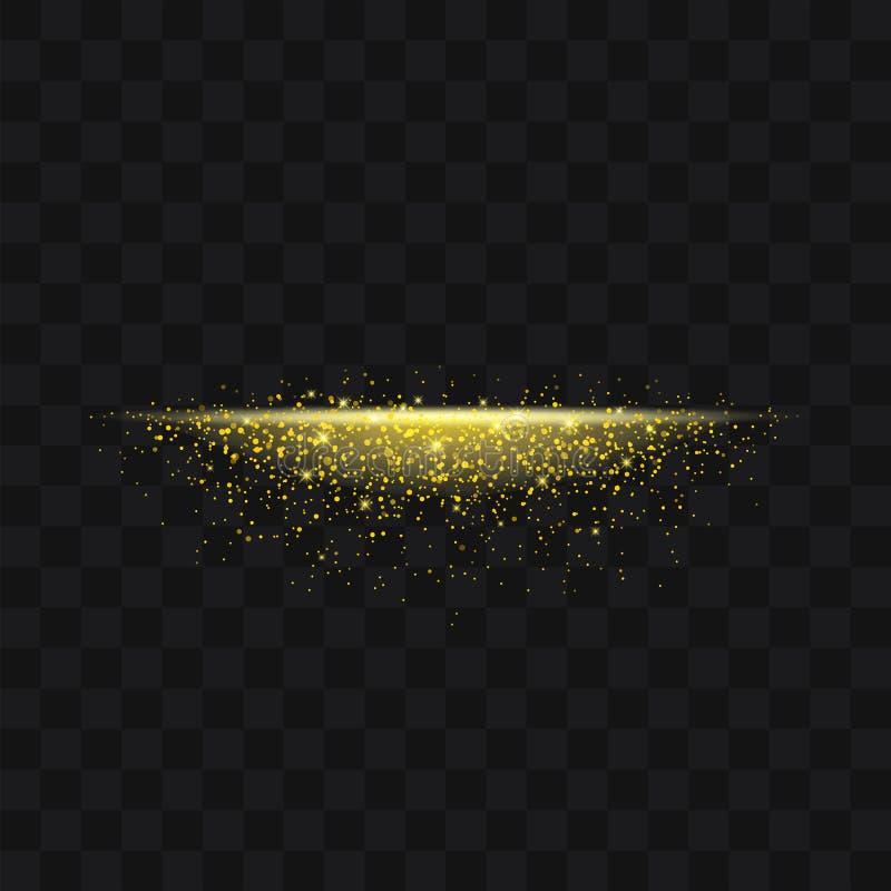 Partículas efervescentes de brilho do sumário do stardust da fuga do ouro em b ilustração do vetor